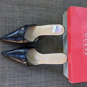 Guess / Marciano black leather Bolero kitten heels
